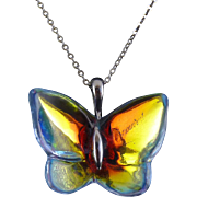 Signed Baccarat Iridescent Crystal & Sterling Butterfly Pendant Sterling Chain
