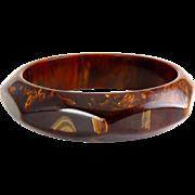 Vintage Bakelite Chocolate Brown & Gold Caramel Swirled Octagon Bangle