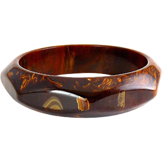 Vintage Bakelite Chocolate Brown & Gold Caramel Swirled Octagon Bangle