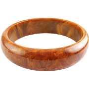 Vintage Caramel Swirl Bakelite Bangle Bracelet
