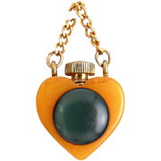 Bakelite Heart Perfume Bottle on Chain- Butterscotch with Forest Green Lucite Disk