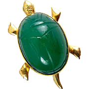 Bal Ron Carved Green Chrysoprase Figural Turtle Pin