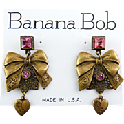 1980's Banana Bob Brass Bows & Hearts Dangling Earrings with Pink Rhinestones