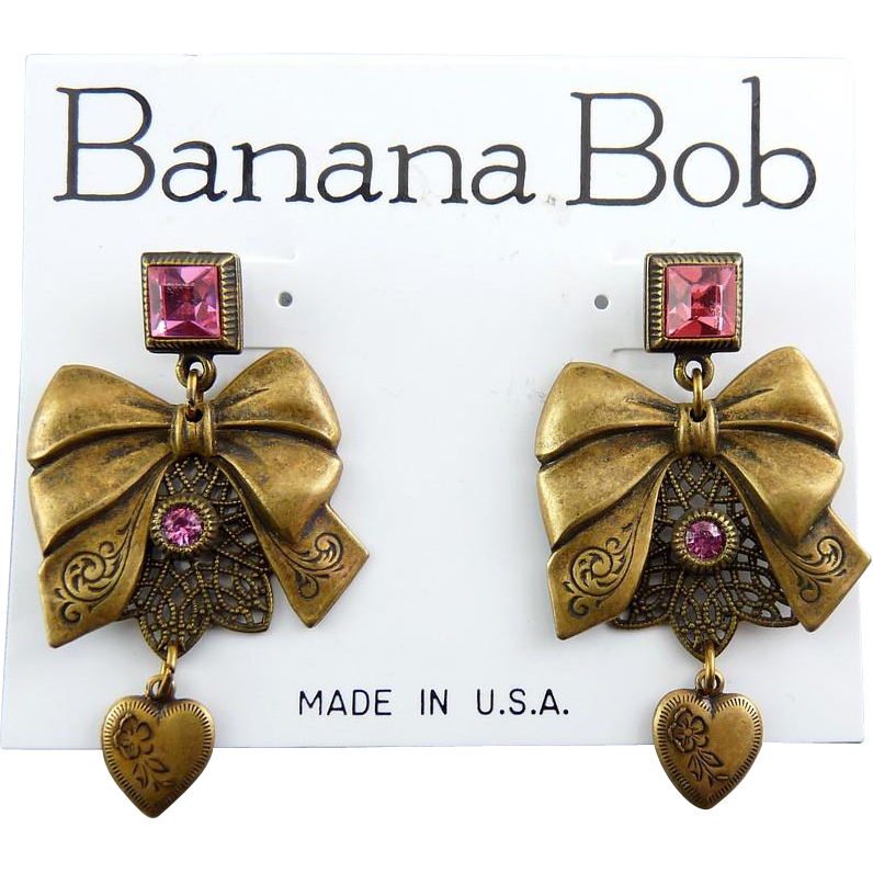 1980's Banana Bob Brass Bows & Hearts Dangling Earrings with Pink Rhinestones