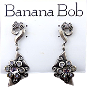 1980's Banana Antiqued Silver Drop Earrings with Swarovski Crytal Balls &  Color Change Rhinestones