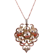 Beau Sterling Silver Layered Petals Flower & Scrolls Pendant Necklace