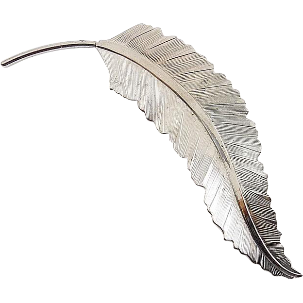 Vintage BEAU Sterling Silver Curving Feather Plume Pin