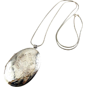 Jumbo Vintage Sterling Silver Oval Locket Necklace- 2 Inch, Engraved Plumes