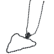 "Long 54"" Jet Black Bicone Glass Beads Necklace, Knotted - Flapper Style"