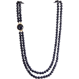 1960's Jet Black Faceted Glass 2-Strand Long Necklace, Ornamental Clasp