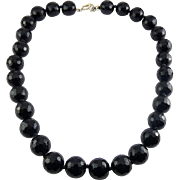 Large Black Honeycomb Faceted Glass Beads Necklace with Sterling Silver Toggle Clasp, Individually Knotted