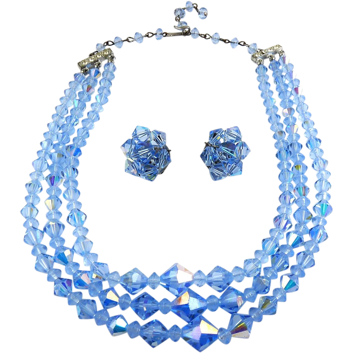 1960's Light Blue AB Swarovski Crystal Beads 3-Row Necklace and Clip Earrings