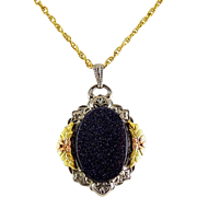 Vintage Blue Goldstone, Tri-Color Gold-Filled Pendant on G.F. Rope Necklace