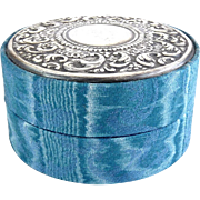 Italian Sterling Scrolled Lid on Blue Moire Fabric Jewelry Box