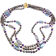 Gorgeous Peacock Pearl, Amethyst & 14K Gold Beads 3-Strand Necklace