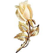 BOUCHER Carved Rose Flower on Gold-Plated Stem, Signed, 7203