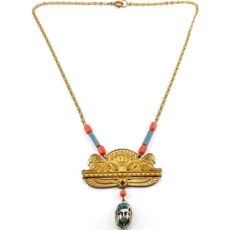 Egyptian Revival Sphinx & King Tut Brass & Glass Pendant Necklace