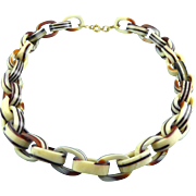Vintage Lucite Acrylic Brown & Cream Laminated Stripes Link Necklace
