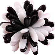 1970s Black & White Plastic Petals Pom Pom Flower Pin - Exc. On Card, Old Stock