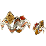 Carolyn Pollack, Relios, Four Corners Sterling Silver, Copper and Gemstone Cuff Bracelet & Ring, Native American
