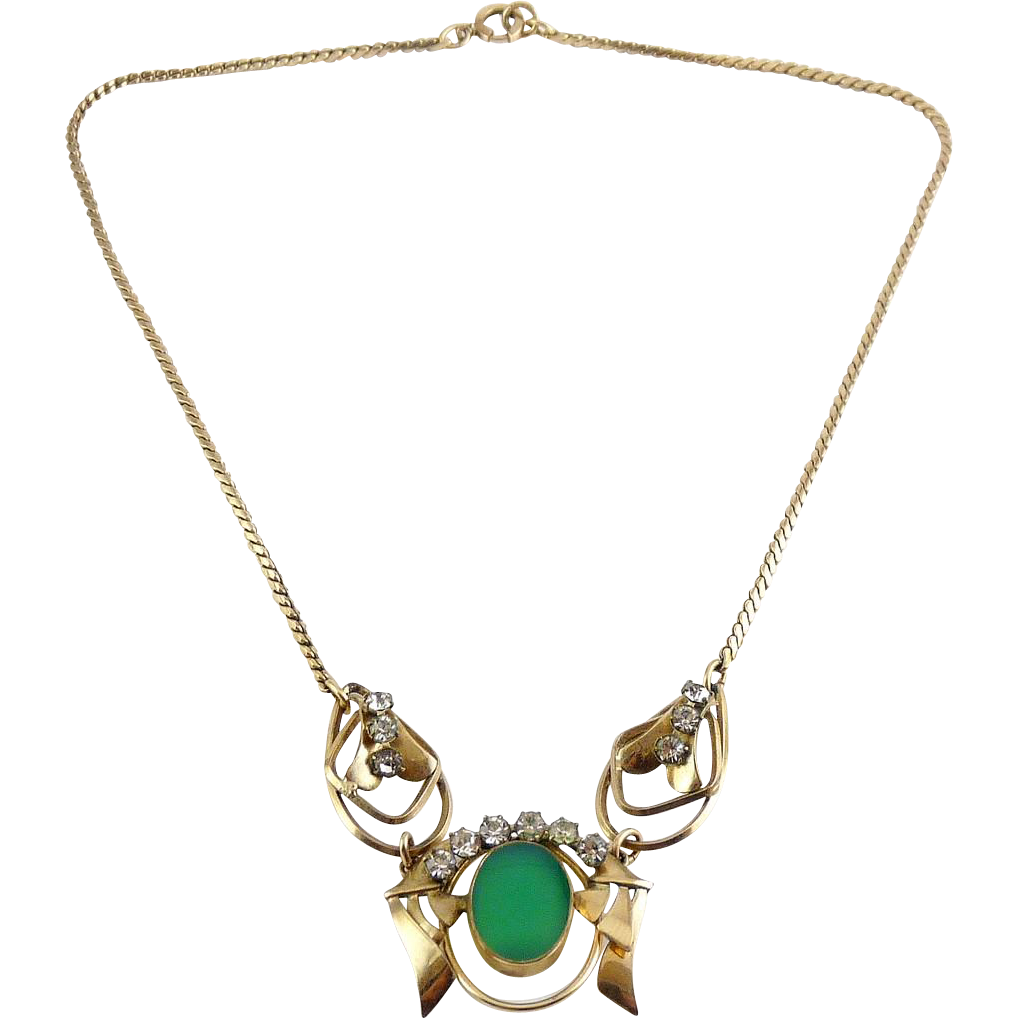 Carl-Art Gold-Filled 3-Part Pendant Necklace with Green Chrysoprase & Rhinestones