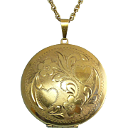Carl-Art 12K Gold-Filled Large Round Locket with Hearts & Flowers, G.F. Necklace
