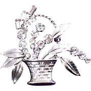 Carl Art Sterling Silver & Rhinestone Flower Basket Pin