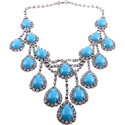 Cascading Bib Necklace of Faux Turquoise and Rhinestones - Scene Stealer