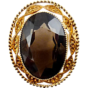 Catamore Gold Filled & Big Smoky Quartz Gemstone Oval Brooch Pin