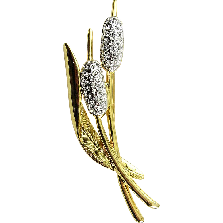 Golden Double Cattails Bulrush Pin with Rhinestone Pave Flowers