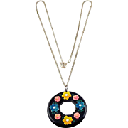 1930's Black Celluloid Disk Circle Pendant Necklace- Applied Colorful Flowers and Rhinestones