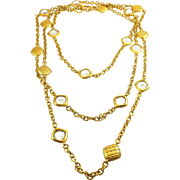 "Authentic Vintage Chanel Gold Plated 73"" Necklace Chain with Quilted Crystal Stations"