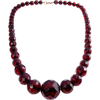 "Vintage Glowing Cherry Amber Faceted Graduated Beads 17"" Necklace – 25 Grams"