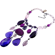 Chico's Purple Donella Bib Large Necklace