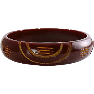 Vintage Chocolate Brown/Yellow Resin Carved Arcs Bangle Bracelet