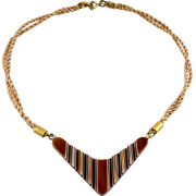 1960's Brown & White Laminated Acrylic Plastic Boomerang Chevron Pendant on Cord Necklace