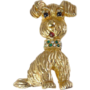 CINER Puppy Dog with Rhinestone Jeweled Collar Pin