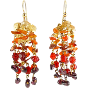 Lively Yellow Citrine, Orange Citrine, Garnet & Red Glass Beaded Waterfall Earrings - Gold Filled Pierced Wires