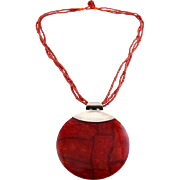 Large Red Coral Mosaic Disk Pendant with Sterling Silver Top & Beaded Necklace