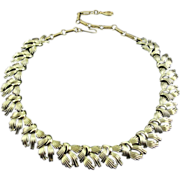 CORO 1960's Gold Tone Woven Ribbons Link Necklace, Adjustable Length - Vintage