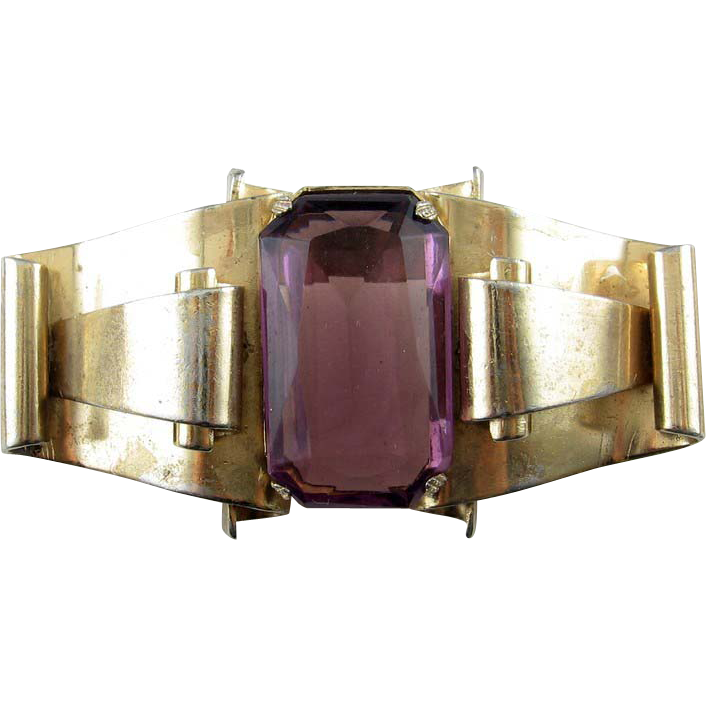 Big CORO 1942 Retro Layered Scrolls Pin - Lg. Amethyst Glass Jewel