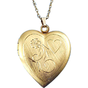 "Creed Gold-Filled Engraved Lg. Heart Locket, 24"" Rope Chain Necklace"