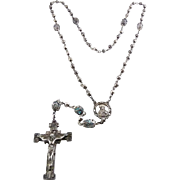 Vintage Creed Sterling Silver & Caged Blue Glass Bead Rosary Beads ~25 Grams
