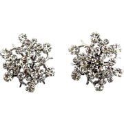 Pristine Crystal Rhinestone Flower Cluster Earrings, Clip - Like New