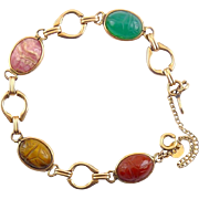 1950's Gold-Filled Bracelet with Carved Scarab Beetles, Curtis Creations