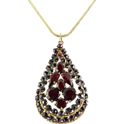 Vintage Czechoslovakia Signed Large Red Garnet Glass Stones Teardrop Pear Pendant on Gold-Filled Necklace