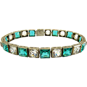 Art Deco Czechoslovakia Eternity Line Bracelet with Square Green & Round Crystal Stones - Signed