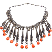 Mid Century French Tribal Modernist Bib Necklace with Coral Color Beads- DLH Depose'