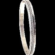 Danecraft Sterling Silver Retro Textured/ Rope Twist Bangle Bracelet