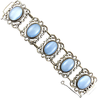 Wide Danecraft Sterling Silver&Blue Moonstone Glass Cabs Rococo Link Bracelet
